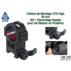 Colliers UTG High QD pour lunette - 30 mm pour rail Weaver (21mm)