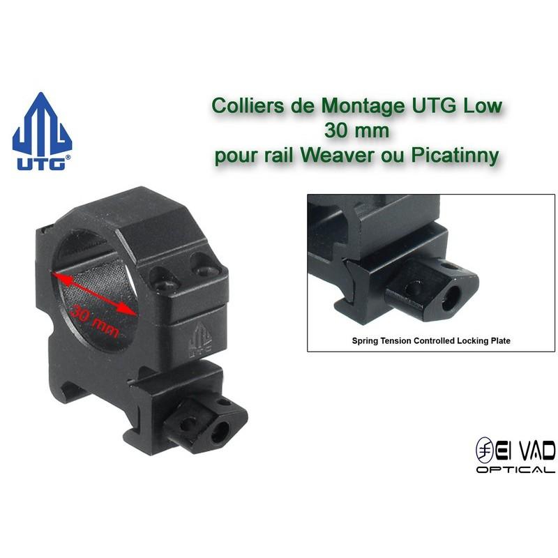 Colliers UTG Low pour lunette - 30 mm pour rail Weaver (21 mm)