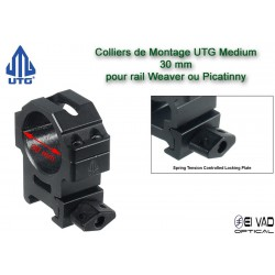 Colliers UTG Medium pour lunette - 30 mm pour rail Weaver (21 mm)