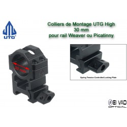 Colliers UTG High pour lunette - 30 mm pour rail Weaver (21 mm)