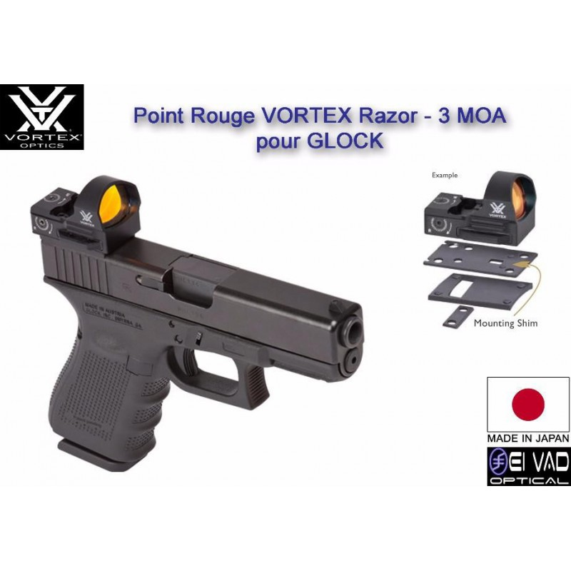 Point Rouge VORTEX Razor - 3 MOA - Pour Glock