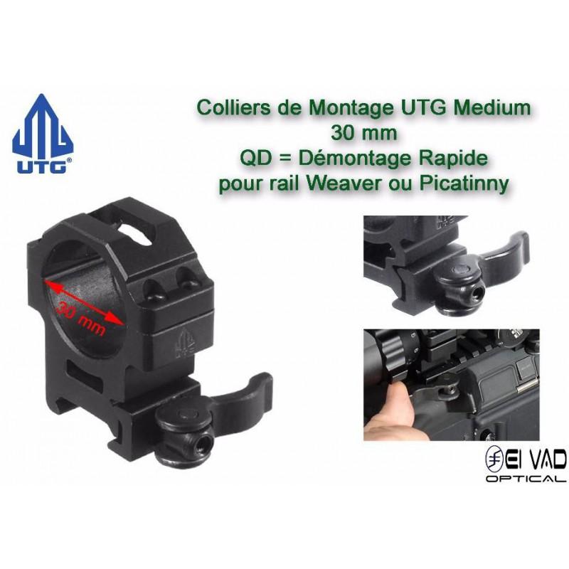 Anneaux de montage UTG Medium QD - 30mm pour rail de 21mm