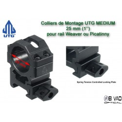 Colliers UTG Medium pour lunette - 25mm pour rail Weaver (21mm)