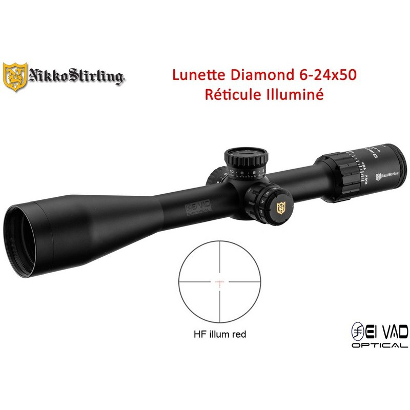 Lunette Nikko Stirling Diamond 6-24x50 - Réticule Hold Fast - TLD