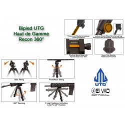 Bipied UTG Tactical 360 pour rail picatinny