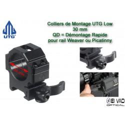 Colliers UTG Low QD pour lunette - 30 mm pour rail Weaver (21 mm)