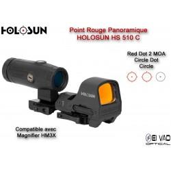 Pack Holosun 3 - Point Rouge HS510C + Magnifier HM3X